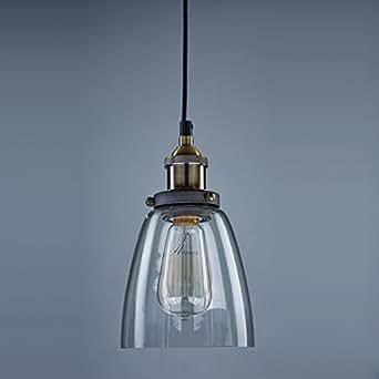 Ecopower Industrial Edison Glass 1 Light Pendant Hanging