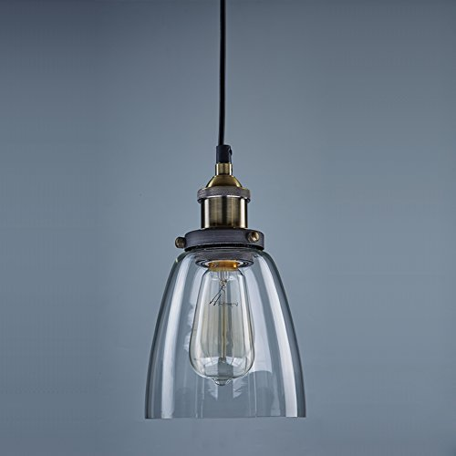 Ecopower Industrial Edison Mini Glass 1-Light Pendant Hanging Lamp Fixture