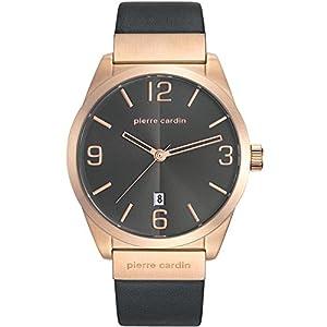 Pierre Cardin Men's 43mm Black Leather Band Steel Case Quartz Grey Dial Analog Watch PC107911F02