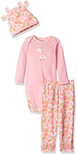 Gerber Baby Girls' 3 Piece Bodysuit, Cap, and Pant Set, Giraffe, 12 Months