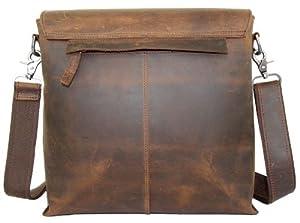 Secuda Vintage Men's Cowhide Leather Shoulder iPad Tablet PC Bag / Case School Bag Messenger Satchel Brown Coffee by SECUDA