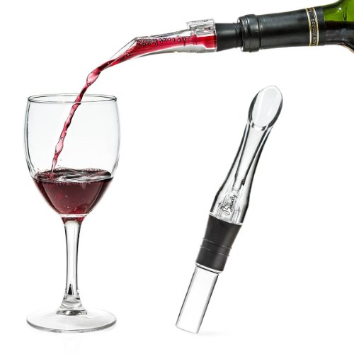 Basily Wine Aerator --- BREATHES wine straight from the bottle! | HASSLE-FREE Spout Pourer | Bottle Top Wine Decanter Alternative | Best Aerator for Red Wine | PREMIUM Bar Accessories | Portable | 100% MONEY BACK GUARANTEE