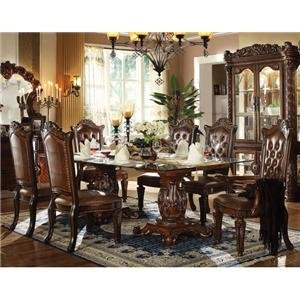 Ideal Acme Furniture KIT VENDOME DOUBLE PEDESTAL DINING TABLE WITH GLASS TOP