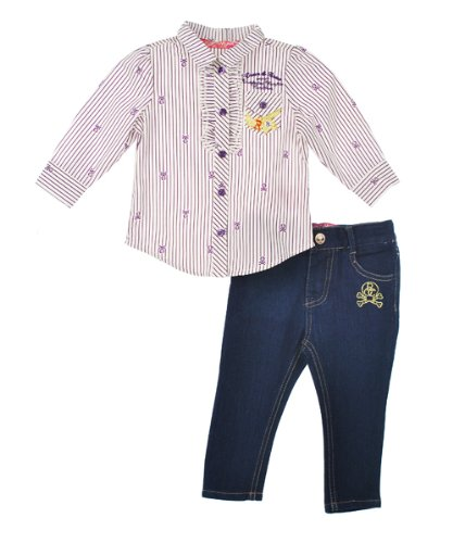"Rocawear ""Skull Stripe"" 2-Piece Outfit (Sizes 0M - 9M) - plum, 3 - 6 months"