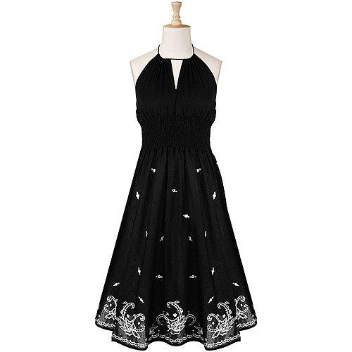 Cotton Dress Smocked Waist Embroidered
