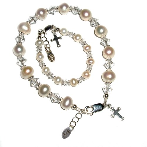 Sterling Silver Mom and Me Cultured Pearl Bracelet Set for Mother and Daughters with Cross (0-12 Months)