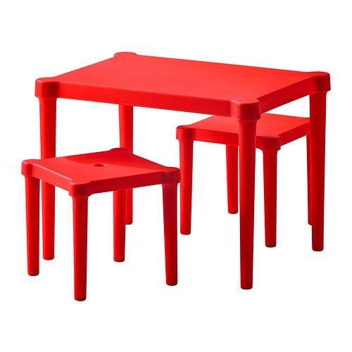 IKEA-Kindersitzgruppe-UTTER-Kindertisch-mit-2-Sthlen-fr-drinnen-und-drauen-unverwstlich-ROT