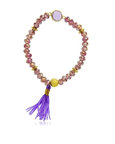 Saachi Purple Beaded Tassel Bracelet