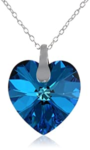 Sterling Silver Bermuda Blue Swarovski Elements Heart Pendant Necklace, 18""