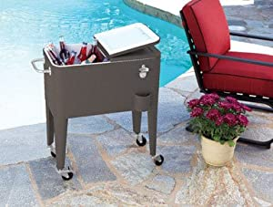 Living Accents Rolling Steel Cooler 60 Qt 31.4 In. H X 29.7 In. W X 17.5 In. D Brown