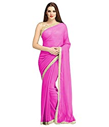 AVSAR PRINTS Women's Georgette Saree with Blouse Piece (Pink)