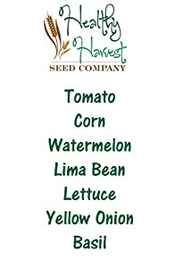 Spring Planting Vegetable Seeds: 7 Varieties! Tomato, Corn, Watermelon, Lima Bean, Lettuce, Yellow Onion, and Basil Seeds