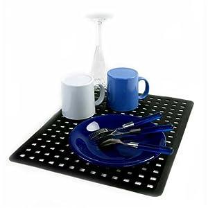Amazon Com Large Black Sink Drain Mat Protector Kitchen
