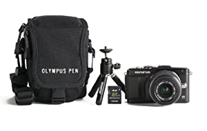 Olympus E-PL5 16MP Compact System Camera Kit with 14-42mm lens, case, mini tripod, and memory card  (Black)