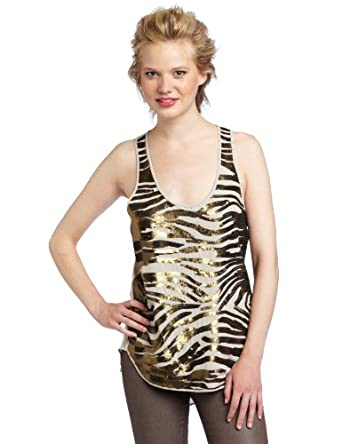 BCBGMAXAZRIA Women's Margot Zebra Sequins Tank Top, Light Stone Combo, Medium