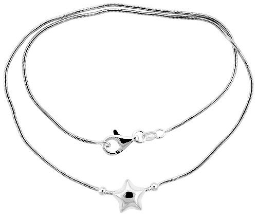 Sterling Silver Necklace with Star Slide 17