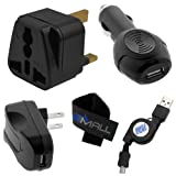 BIRUGEAR USB Mains Travel AC Car Charger + Micro-USB Retractable Cable + Plug Adapter For Amazon Kindle Fire HD 8.9 ,Kindle Fire HD 7 ,Kindle Paperwhite / Paperwhite 3G ,Kindle Touch / Touch 3G with *Cable Tite*