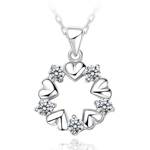 Ki-Hime White Gold Plated 925 Sterling Silver Heart-Shaped Pendant With White Cubic Zirconia And 45Cm Necklace (6864)