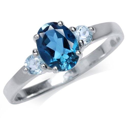 3-Stone Natural London & Blue Topaz 925 Sterling Silver Engagement Ring Size 7
