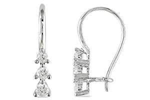 10K White Gold 1/4 Carat Diamond Earrings