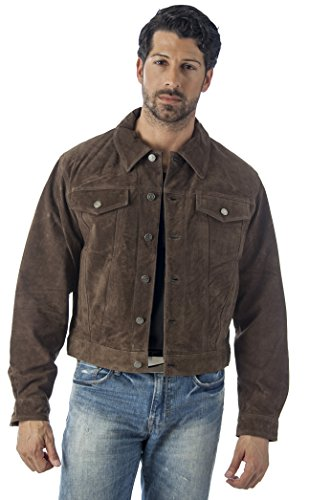 Reed`s Men`s Western Jean Style Suede Leather Shirt Jacket (S, BROWN)