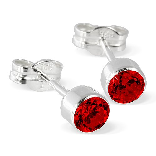 SilberDream earring Zirconia red, 925 Sterling Silver SDO503R