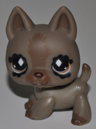 German Shephard #491 (Tan, Brown Stripe) - Littlest Pet Shop (Retired) Collector Toy - LPS Collectible Replacement Figure - Loose (OOP Out of Package & Print) - 1