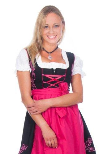 Mini Dirndl 3-teilig schwarz pink mit passender Bluse und Schürze Gr. 32-52 jetzt kaufen