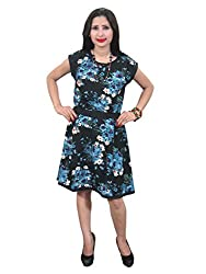 Indiatrendzs Women's Black Dress Floral Printed Party Dress Chest : 36