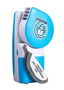 Portable Small Fan & Mini-air Conditioner, Runs On Batteries Or USB--Blue
