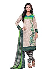 SayShopp Fashion Women's Unstitched Regular Wear Cotton Printed Salwar Suit Dress Material (ZDM-05_Beige,Green_Free Size)