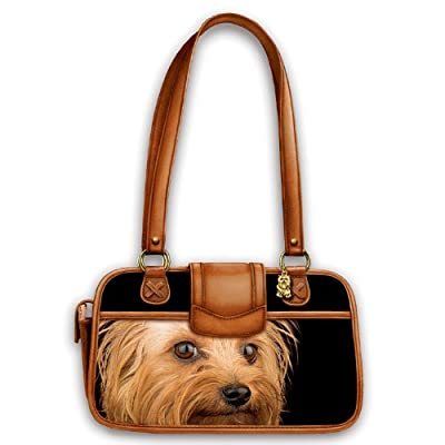 Faithful Friend Leather-Trimmed Handbag: Dog Lover Handbag by The Bradford Exchange