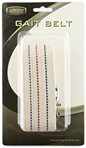 Prestige Medical 621-wht Cotton Gait Belt with Metal Buckle White
