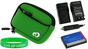 3n1 Neoprene Sleeve (Forrest Green) Case / NP-20 680mAh Li-Ion Battery / AC DC Charger for Casio Exilim EX-S770RD 7.2MP Digital Camera Red