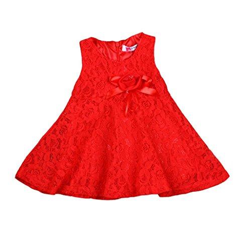 Rorychen Baby Girls' Sleeveless Lace Zipper Dress 3 Months Red