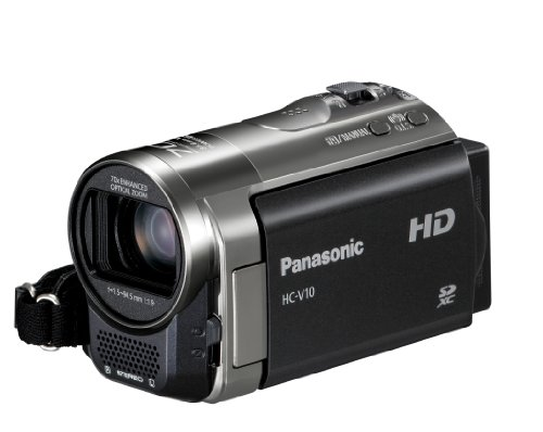 Panasonic V10 HD 720p Camcorder - Black (70x Zoom, Power OIS, SD Card Recording, Face Recognition) 2.7 inch LCD