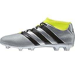 adidas Performance Men\'s Ace 16.3 Primemesh FG/AG Soccer Shoe, Silver Metallic/Black/Electricity, 10.5 M US