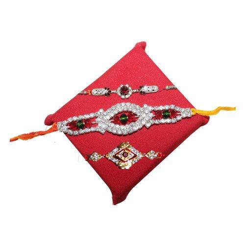 handicrunch-rakhi-set-of-3-designer-white-stone-rakhi-set-with-haldiram-rasgulla