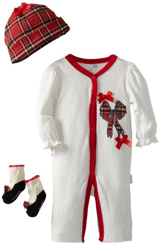 Vitamins Baby-Girls Newborn Plaid And Bow Coverall Set, White, 3 Months front-878327