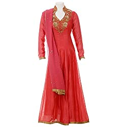 Moh Women'S Anarkali Salwar Suit Set (M_8_Ake50_M _Peach _Medium)