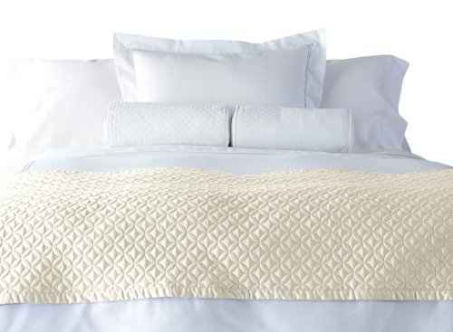 Cuddledown 400 Thread Count Meridian Bed Scarf, Full/Queen, Ivory front-907306