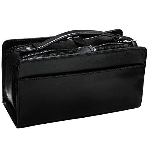 Firenze(フィレンツェ)本馬革ダブルファスナー式セカンドバッグ 縦/横持ち可能 ブラック