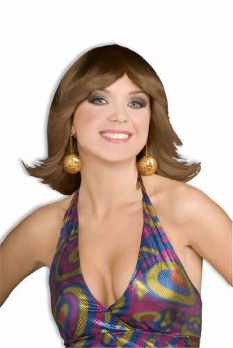 Forum Novelties Women's 70's Disco Fever Flip Style Brown Wig