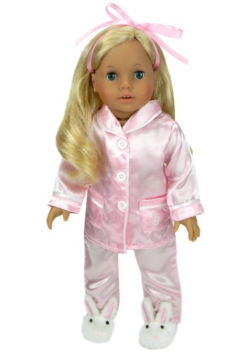 18-Inch-Doll-Pajamas-Pink-Satin-Pjs-Fits-18-Inch-American-Girl-Dolls-Doll-Slippers-not-included