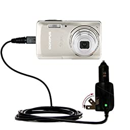 Unique Gomadic Car and Wall AC/DC Charger designed for the Olympus Stylus-5010 Digital Camera - Two Critical Functions, One Great Charger (includes Gomadic TipExchange)