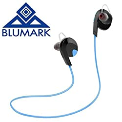 Wireless Bluetooth V4.1 Earphones by BLUMARK - Stereo Sweatproof for Sport - Gym/Running. With Mic APT-X, Noise Cancelling - Universal - Free Bonus: 4 Earbuds, 2 Ear Hooks and a Charge Cable. (BLUE)