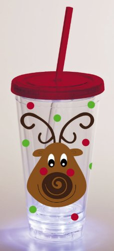 Reindeer,Led Insulated Cup With Straw 17 Oz,Tumbler,4X4X7 Inches front-835115