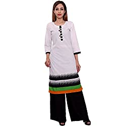 MSONS Women's White 6 Buttons Printed Long Kurti in Cotton Fabric