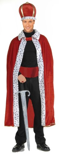 Adult King Robe & Crown Red Velvet Costume 61299