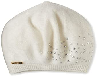 Laundry by Shelli Segal Women's Knit Beret Hat with Scattered Pearl Detail, Warm White/Pearl, One Size